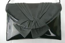 Vintage Black Patent Leather Clutch Shoulder Bag Retro Witney Green Aust 1980s