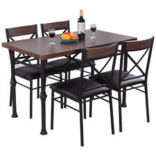 5 Piece Dining Set Table And 4 Chairs Wood Metal Kitchen Breakfast Furniture New