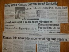 Kansas Jayhawks NCAA Basketball Newspaper clippings Paul Pierce Raef LaFrenz