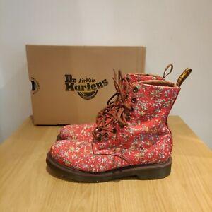Dr Martens 1460 Castel Page Victorian Flowers Floral Red Boots UK 5 EU 38