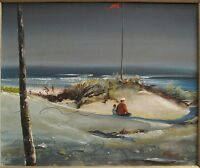 VINTAGE AMERICAN IMPRESSIONIST SEA OR LAKE PAINTING PIERCE WAVES FATHER SON GAME