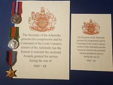 REPLICA WW2/WWII Campaign Stars, Clasps & Medals Awards slip – NAVY Admiralty