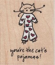 CAT'S PAJAMAS - Wood Mounted Rubber Stamp - Hampton Art