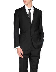 AQUASCUTUM Black Striped Wool Suit UK46 EU56 C46 x W40 BRAND NEW & UNWORN