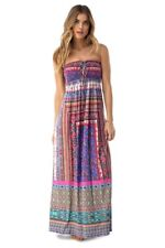 New Sky QUELLYN sexy strapless maxi Dress blue purple pink Made in USA women's M