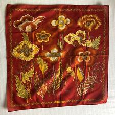 Vtg Salvatore Ferragamo Red And Gold Floral Handkerchief - Cotton Scarf - 16.5�