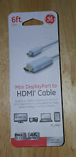 NEW 6FT GE JASCO MINI DISPLAY PORT DP TO HDMI CABLE ADAPTER 33771 PC MAC