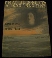 """1917 """"I May Be Gone For a Long, Long Time"""" Large Format Vintage Rare Sheet Music"""