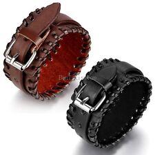 Punk Rock Leather Handcrafted Wide Belt Men's Bracelet Gifts Black / Brown Color
