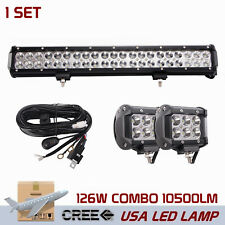 20INCH 126W CREE LED LIGHT Bar COMBO With 18W SPOT LAMP 4WD SUV JEEP+ Wiring Kit