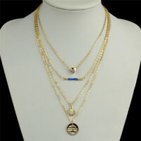 Women's Heart Blue Beads Charm Gold Plated Chain Pendant Multi-layer Necklace RS
