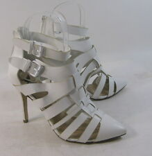 """ladies White 4""""Stiletto High Heel Pointy Toe Ankle Strap Sexy Shoes Size 7"""