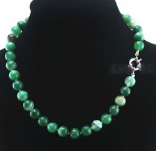 AAA Fashion 10mm Natural Green Striped Agate Gemstone Beads Necklace 18''