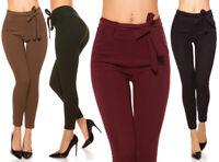 donna pantaloni skinny elasticizzati slim leggings pants aderenti con cintura
