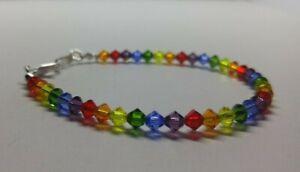 Handmade w/ Swarovski Crystal Bicone Rainbow Beaded Bracelet; Popular!