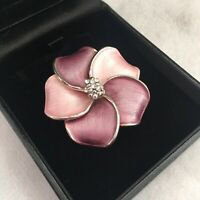 Vintage Brooch Pink & Lilac Hawaiian Plumeria Flower Pin Silver Toned 1980s