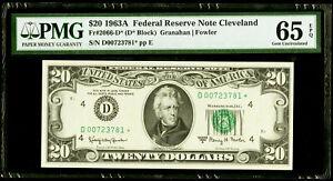 $20 1963A Federal Reserve * Star Note Cleveland PMG 65 EPQ Gem Uncirculated