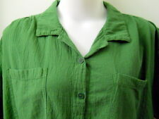 MIB 2X Green Button Down Camp Shirt 100% Cotton USA Short Sleeves 2 Pockets
