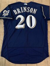 Authentic Majestic Flex Base Lewis Brinson Brewers Jersey 48 NWT
