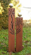 Gartendeko Rost Eisen Säule  Dreieck 100 + 80 cm Gartensäulen Edelstahlkugel