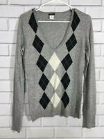 J Crew Womens Size S Gray Argyle V-Neck Long Sleeve Pullover Sweater Wool Blend