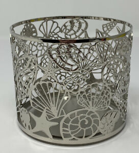 Bath & Body Works Sea Shell Beach Theme 3 Wick Candle Holder Silver Metal New