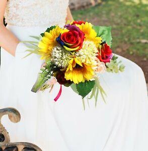 Rainbow Sunflower Bouquet Roses Bridal Handmade Wedding Toss Artificial Flowers