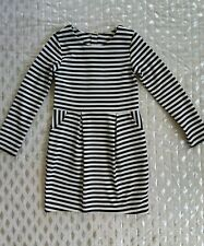 H&M HM striped Black White Fitted Dress Long Sleeve Sz S 4-6