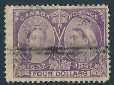 CANADA 1897 USED $4 JUBILEE #64, QUEEN VICTORIA !! E34
