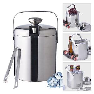 1,3L Edelstahl Eiswürfeleimer Eiswürfelbehälter Eiskübel mit Eiszange&Deckel DHL