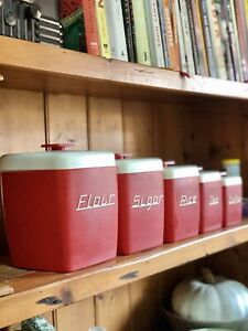 Fantastic Vintage Retro 1950's NALLY WARE AUSTRALIA Kitchen CANISTERS Rocket Red