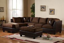 3pc Sectional Sofa Microfiber / Bonded Leather Set W Chaise (Brown)