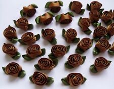 "7/8"" Golden Brown Swirl Satin Ribbon Flowers Roses w/Leaf -Lots 30-R0048T"