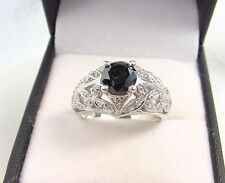 BLACK DIAMOND 1.12 CTS and .10 WHITE DIAMONDS ANTIQUE STYLE 925 STERLING RING