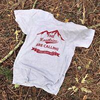 American Apparel Gray Tshirt Mountains Are Calling Women Size Medium