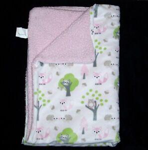 Blankets & and Beyond Girl Sherpa Tree Raccoon Owl Fox Hedgehog White Pink Green