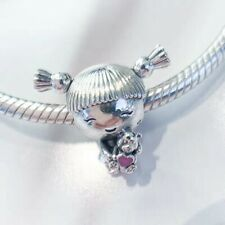 Authentic Pandora Sterling Silver Girl with Pigtails Charm Bead  798016EN160  #a
