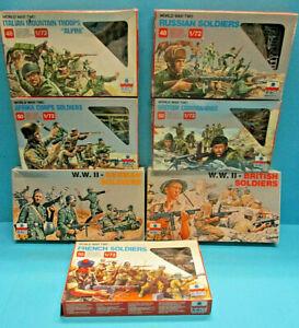 ESCI 1/72 WWII GERMAN BRITISH FRENCH ITALIAN RUSSIAN COMMANDO 7X SILVER BOX LOT