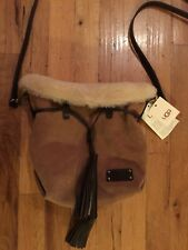 UGG AUSTRALIA  Women's Tan/ Beige/Shearling Leather Tote Small Shoulder Bag- NEW