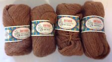 100% Wool Yarn 4 Skeins BRITANIA Shetland Type Brown Unger Great Britain VTG
