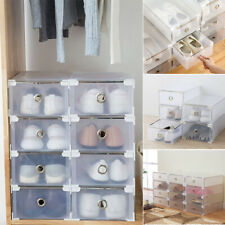 8x Box Plastic Drawer Shoe Home Storage Stackable Organiser Transparent Foldable