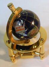 Vtg Miniature World Globe Rotates on Axis Semi Precious Stones Inlaid Countries