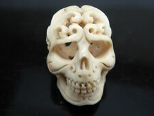 Skull Day of the Dead Intricately Carved Shed Deer Antler Pendant Bead 1PC
