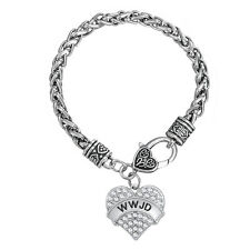 WWJD Heart Charm Bracelet Crystal Religious Message What Would Jesus Do