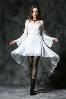 Dark In Love Gothic Ghost Steampunk Victorian Dovetail Lace White Dress DW053WH