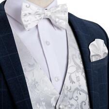 Mens White Floral Waistcoat Suit Vest Woven Bow Tie Pocekt Square Cufflinks Set