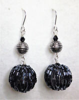 Grey and silver tone bead earrings on hooks Approx.6cm