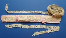 THREE LENGTHS OF ANTIQUE HAND MADE SCHIFFLI LACE - Unused Shop Stock