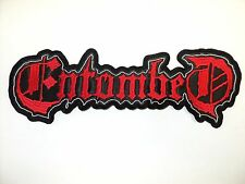 ENTOMBED  WHITE AND RED SHAPED LOGO          EMBROIDERED BACK PATCH
