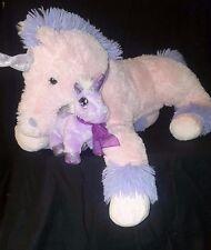 """LOT OF LARGE 33"""" Long Pink Stuff Plush Unicorn Ultra Soft Small Purple Unicorn"""